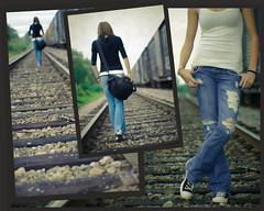 (e.ringer) Tags: railroad cute girl train dark 50mm nikon shoes waiting dof legs tracks jeans attitude converse torn d200 milton