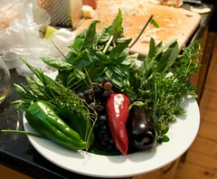 Shimon's contribution: herbs and vegetables from his garden