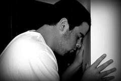 "57/365:  ""I lost my remote."" (garymeyerphotography) Tags: portrait bw white black me against wall contrast self lost nikon sad head gary depressed remote 365 meyer unfortunate selfy d60 banging 365days september365 g4floyd garymeyer"