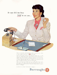 1949--burroughs-busy (x-ray delta one) Tags: vintage magazine ads advertising suburban ad suburbia retro nostalgia 1940s 1950s americana 1960s atomic populuxe housewife coldwar popularscience popularmechanics magazineillustration atomicpower