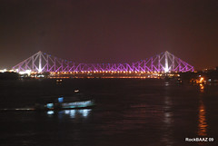 Howrah Bridge at night, Kolkata (Rockbaaz) Tags: bridge india west tourism station architecture steel tata landmark spot tourist infrastructure british iconic kolkata bengal calcutta hoogly cantilever howrah tisco