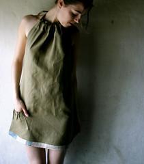 halter dress in olive (larimeloom) Tags: summer portrait fashion diy clothing handmade linen cotton indie etsy larimeloom