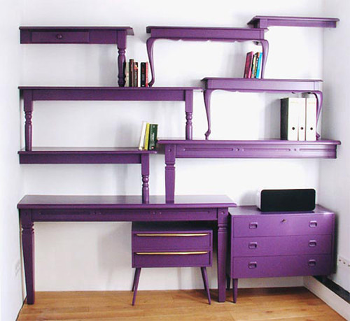 Purple-bookcase-comes-with-unique-shape-and-purple-color
