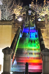 Hopscotch Stairs (shescrazy) Tags: city nightphotography light urban june stairs 35mm rainbow nikon pretty sydney australia vividcolour festivaloflight nightlife nikkor 18 lightson lightfestival urbanenvironment d3000 greatnightout nikon35mm18 creativesydney vividsydney vividsydney2011 vivid2011