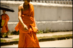 near the temple (fly) Tags: temple asia monk lao luangprabang fly simonkolton