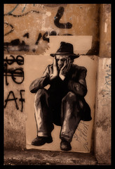 Tom waits ... (Fritenks) Tags: dublin streetart rome hat corner poster hands waiting thoughtful suit together thinlizzy tomwaits slorenzo justforme calexico7 morn sardiv imjustsittinherewatching
