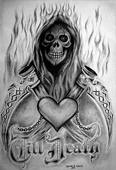 Love Eternal.....Till Death by Denise A. Wells (Denise A. Wells) Tags: detail love cemetery tattoo pencil skeleton death design chains scary nocturnal grim reaper drawing flames letters gothic memories evil inanimate tribal valentine silence finish horror forever nightmare macabre coffin dying expired bodyart shi crypt bizarre extinction stylized zeichnungen valentinesday oblivion grimreaper nothingness eternal morgue grieving darkart evildead scythe illistration tattoodesign lifeless obituaries fatality tattooflash dearlydeparted ruination finis passaway eternalrest quietus stylizedletters skulladay grimreapertattoo freetattoodesigns deniseawells uniquevalentine deathpersonified customtattoodesign imagenesdeflashestattoos professionallydesignedtattoos creativetattoodesigns evilskullart creativetattoo exclusivegrimreapertattoos wickedtattoosdesigns