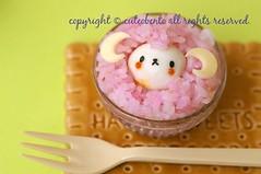 Fluffy lamb (luckysundae) Tags: kawaii bento obento facefood kyaraben キャラ弁 おにぎり おむすび