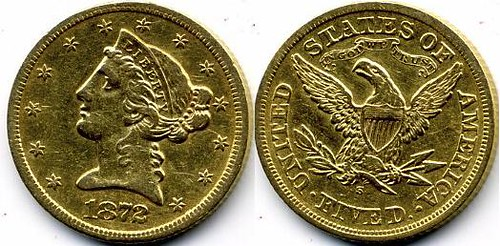 1872-S $5 US Gold Coin Liberty Head Eagle