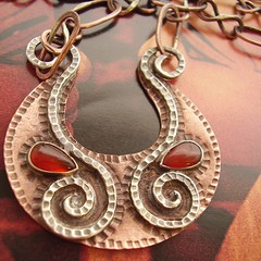 Tribute To Hathor (mocahete) Tags: art metal silver spiral necklace handmade african smith jewelry tribal arabic jewellery egyptian metalwork copper handcrafted unusual ethnic artisan adornment hathor carnelian metalsmith sterlingsilver cornelian etsymocahete themocahete