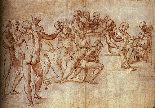 1508  Raphael    The Disputa, Nude man  Brush and brown wash  14,6x9.5 cm  Londres, British Museum