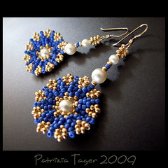 Tropical Chic - Blue - Earrings (Triz Designs) Tags: flower gold jewelry tropical pearl earrings beaded beadwork royalblue beadwoven trizdesigns