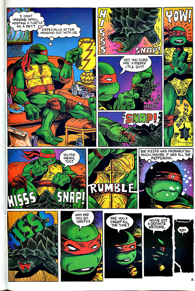 """Raphael : Snapper""   by Rick McCollum  with Tom Anderson and Peter Laird  { Turtle Soup #2 } pg.2 (( December 1991 ))"