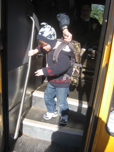 Getting off the school bus
