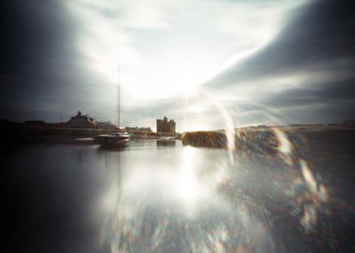 Pinhole image Portencross harbour and castle  05Feb09