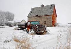 Another Barn and Old Truck - HDR (James Neeley) Tags: winter barn landscape foggy idaho oldtruck hdr idahofalls photomatix supershot 5xp mywinners aplusphoto flickr10 jamesneeley