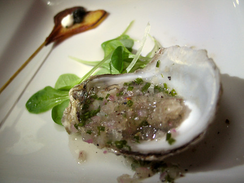 Bistro 45: Oyster with Champagne-Ginger Granita, with Potato Lollipop, Creme Frache and Caviar