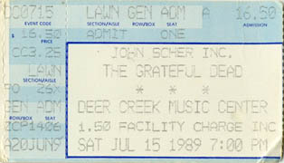 Grateful Dead ticket - 7/15/89 Deer Creek Music Center, Noblesville, Indiana (borrowed from www.psilo.com)