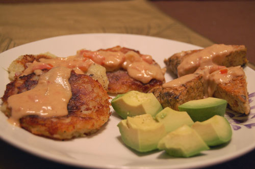 potato pancakes with peanut sauce