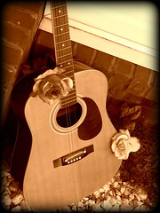 """guitars and roses"" (AmberNicole316) Tags: old brick rose rock sepia guitar strings fret"