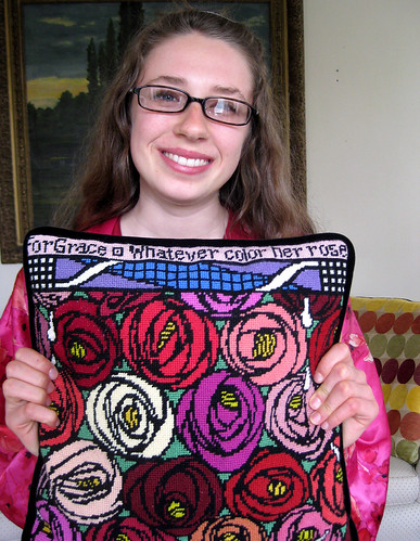 Amy finishes pillow July 2009