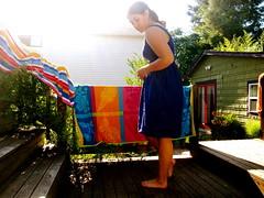 (claire*elise) Tags: wood summer vacation portrait sun tree me sunshine stairs self shopping backyard dress purple deck target backlit