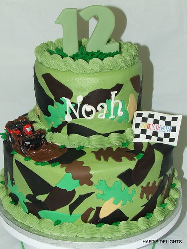 Swell Noahs Camo Birthday Cake A Photo On Flickriver Funny Birthday Cards Online Overcheapnameinfo