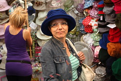 Hampton Court Flower Show - July 2009 - Wife Auditioning for role of Paddington Bear (Gareth1953 All Right Now) Tags: uk girls portrait england woman beautiful shop portraits funny candid bottom hats mature blonde wife dimples visible youngwoman busty denimjacket assistant brastraps theenglish americansabroad canon450d hamptoncourtrhs2009