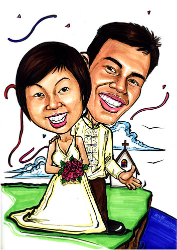Wedding couple caricatures on clifftop