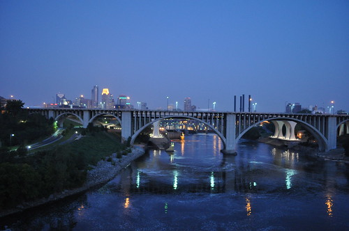 Mississippi River & Minneapolis Skyline - pre dawn
