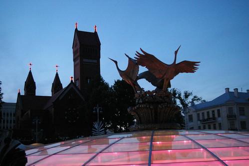 Купол ИД Столица поздним вечером