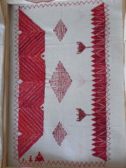 Ginevra's project: sent! (GinevraMakes) Tags: red embroidery messy 1sttime redwork careless tribalstyle ethnicstyle thequiltproject