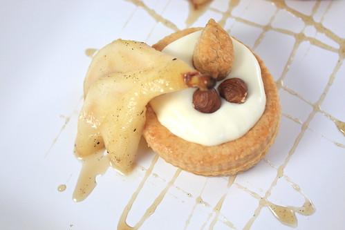Vol-au-vent with Hazelnut Sabayon and  Spiced Poached Pears