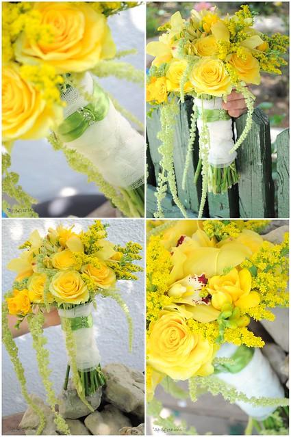 yellow bride bouquet - buchet mireasa