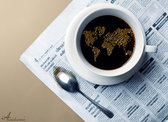 My Small World (ANOODONNA) Tags: world news coffee canon eos newspaper map small bubbles spoon cop l usm f28 canonef2470mmf28lusm ef 2470mm 50d mysmallworld my   canoneos50d  alrasheed alanood krishlikesit    anoodonna  alanoodalrasheed