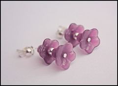 Milky Purple Double Drop Czech Bell Flower Earrings (by tallybates)