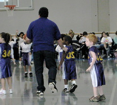 Jacob playing in his first basketball game