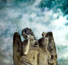 FeelingBlue (Visualtricks) Tags: blue sky statue angel clouds wings nuvole ali explore textures cielo marble angelo friday azzurro statua malinconia marmo venerd