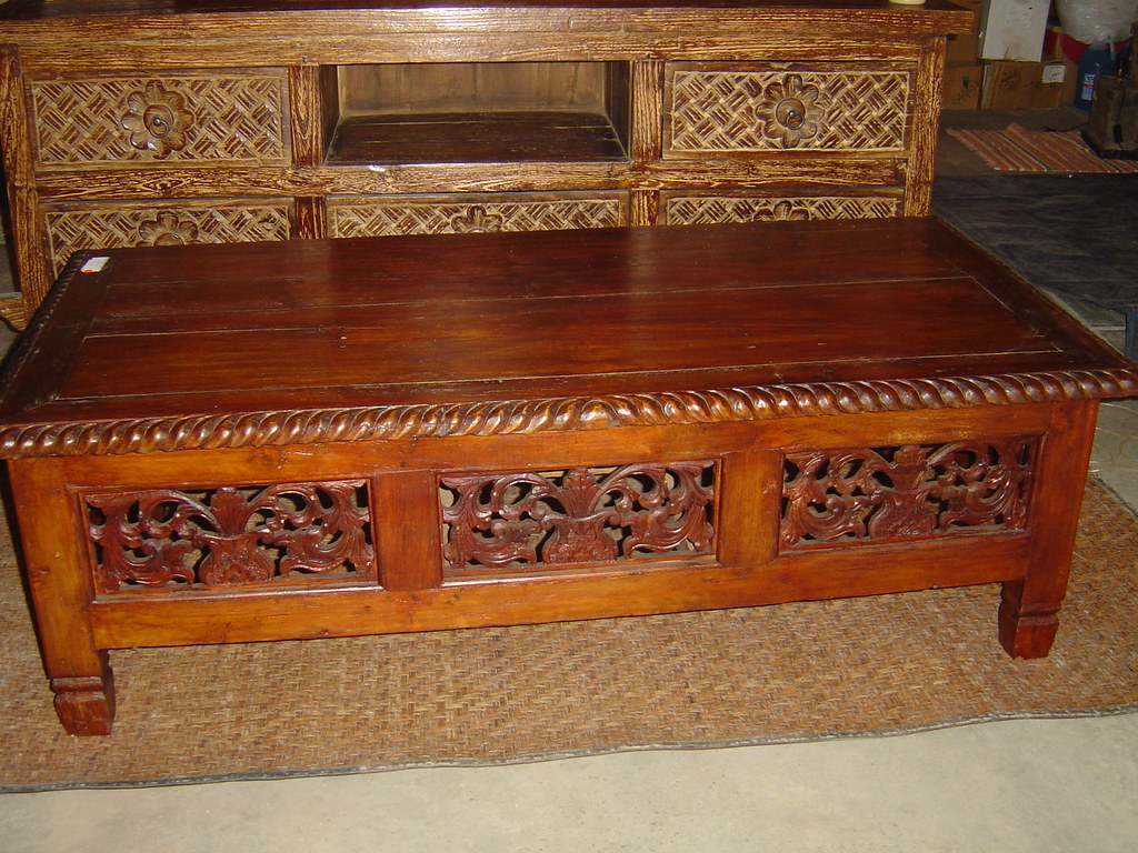 Recycled Teak Coffee Table (Dark wood) - $450
