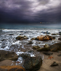 a star in the storm (Kris Kros) Tags: ocean california ca light sky storm cold bird beach wet water rain weather rock clouds photoshop dark photography star book high sand nikon bravo rocks raw waves shadows searchthebest dynamic pacific cloudy starfish 4 touch wave stormy malibu burn rainy be dodge to range hdr soon kk released kkg the in d300 cs4 jpgs photomatix kriskros a 1xp raws mycameraneverlies kktouch saariysqualitypictures hdrbook kkgallery