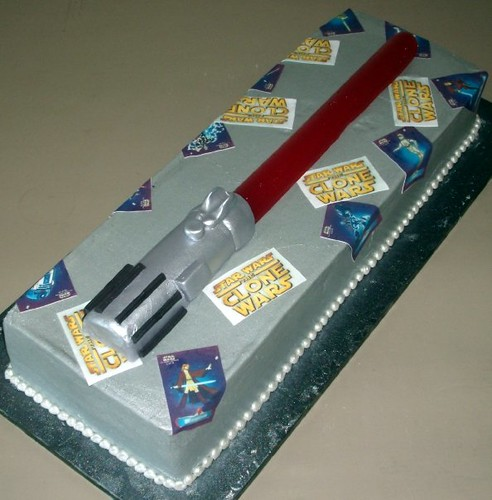 Star Wars Light Saber Cake in Red