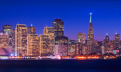 Twilight San Francisco Skyline with a Twist of Christmas Spirit (Oldvidhead) Tags: sanfrancisco california twilight downtown treasureisland hdr transamericapyramid cityskyline citybythebay embarcaderocenter sanfranciscoskyline ericlarson photomatix sanfranciscoatnight sfskyline viewfromtreasureisland aplusphoto photomatixhdr nikond300 twilightskyline