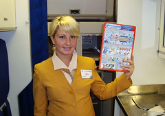 Safety card (Osdu) Tags: portrait people girl airport cabin russia aircraft aviation airplanes crew airlines stewardess dme flightattendant airhostess stewardes safetycard domodedovo azafata aeromoza htessedelair domodedovoairlines