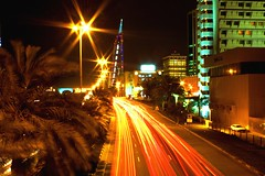 Moving lights BAHRAIN Manama (EXPLPRED) (AlAmmari) Tags: world road city light cars love night canon lights moving bahrain you center u trade juffair manama trafic beutiful guage   streem alammari    d450   explpore