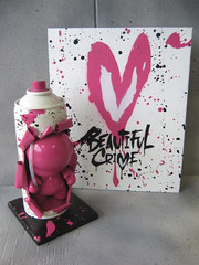 Beautiful Crime Munny - 1/10 (farkfk) Tags: stencil fark awesome 110 canvas kidrobot spraypaint custom limited edition fk signed vst munny farkfk 10x8 vstcrew beautifulcrime