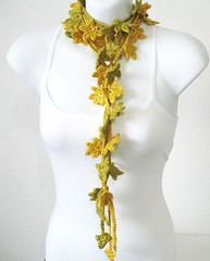 Petite Leaves Garland (kanokwalee) Tags: flowers party green nature leaves yellow scarf women pretty natural sweet feminine unique crochet garland accessories lariat lime etsy whimsical fiberarts scarflette wearablearts natureinspired fiberjewelry