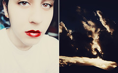 the sunset in her eyes (yltsahg) Tags: sunset sky colors clouds self eyes diptych expressive redlips 1855mm 2009