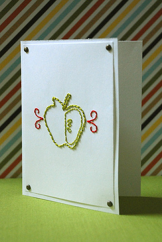 Apple Embroidered Card