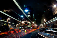 Bank (jamesbooth_london) Tags: road longexposure light motion bus london car night movement nikon thecity kitlens bank poultry flares lightstreams nikkor1870mmf3545 ec3 d80 photographyfoundry p