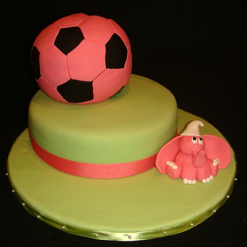 Soccer Ball First Birthday Cake (Girl)